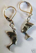 EGYPTIAN STYLE NEFERTITI  PEWTER DETAILED HANDMADE EARRINGS FOR PIERCED EARS