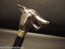Vintage Antique Style Wolf Head Handle Wolfman Metal Walking Stick Cane