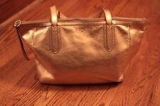FOSSIL GIFT ROSE GOLD METALLIC LEATHER SHOPPER TOTE PURSE