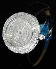 Luxury Swiss Movt Silver Finish Simulated Diamond Baguette Leather Mens Watch