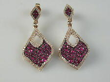 14K Rose Gold Pink Sapphire Diamond Wave Dangle Earrings Tear Drop $3995