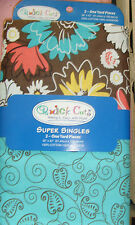 """Quick Cuts Super Singles 2 one yard pieces 36x42"""" brown floral and blue leaves"""
