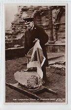 THE CORONATION STONE AT ARBROATH ABBEY: Angus postcard (C11779)