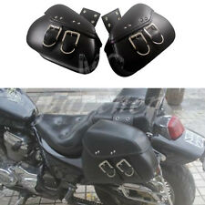 Black PU Leather Luggage Bags Motorcycle Saddlebags Saddle Bags Pouch For Harley