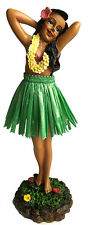 "Hawaiian Dashboard Hula Girl 7"" Doll Dance Pose Hawaii Hawaiiana Green Skirt NIB"