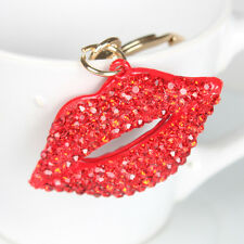 Red Lip Lover's Kiss Fashion Cute Charm Pendant Crystal Purse Bag Key Chain Gift