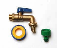 Heavy Duty Brass Lever Outside Tap With Garden Hose Fitting and PTFE Tape