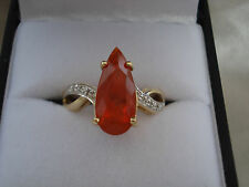 2.12ct Jalisco Fire Opal & Diamond Gold Ring