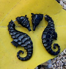 Fake Gauge EarringsTribal Faux Gauge Sprial Earring Cheater Expander seahorse