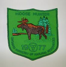 1977 ONTARIO MNR MOOSE HUNTING PATCH crest,deer,bear,elk,Canadian Hunter