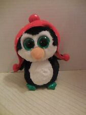"""TY Beanie Boos FREEZE the Penguin NWT Glitter Eyes 6"""" 2015 Christmas Holiday"""