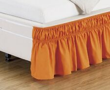 "Queen King Size 14"" Ruffled Elastic Solid Bed Skirt Silky Wrinkle Free Bedding"