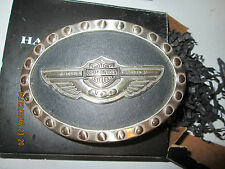 2003 HARLEY DAVIDSON 100th Anniversary Belt Buckle LEATHER & CHROME Motorcycle