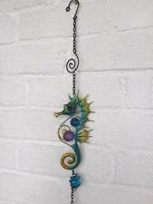 HANGING METAL AND GLASS SEAHORSE ORNAMENT WITH BELL Nautical  Home Garden 86cm