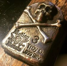 3 Troy Oz Silver Bar .999 Mutiny Metals Tombstone