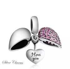 Pink Heart I Love You Charm 925 Sterling Silver Gift Packing Included