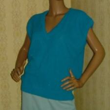 1980s 80s vintage clothes vest knit Slouch teal green Xl