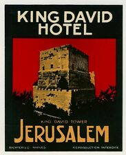 "King David Hotel JERUSALEM Israel Old RICHTER Luggage Label Kofferaufkleber ""S"""