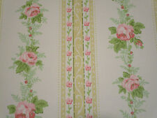 "Vtg Glendura Vinyl PINK Cabbage Roses Wallpaper DOUBLE ROLL 13 yds x 24"" MIP"