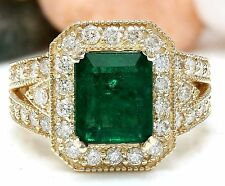 4.35CTW NATURAL EMERALD AND DIAMOND RING IN 14K YELLOW GOLD
