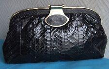 sac pochette à main de soirée en cuir de python d'élevage VINTAGE