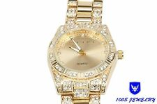 Mens Iced Out Hip Hop 14K Gold Jewelry Simulated Diamond Stainless Steel Watch