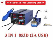 YIHUA 3in1 Soldering Station SMD Rework Iron Hot Air Gun DC Power Supply 853D 2A