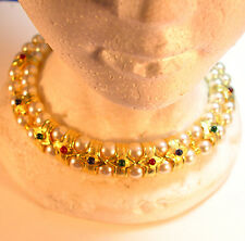 """elegant jeweled collar, 15"""" x 7/8"""" wide, a necklace for a queen! pearl & gems"""