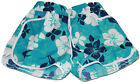 TURQUOISE LADIES FLORAL FLOWER PRINT HOT PANTS SWIM BEACH BOARD SUMMER SHORTS UK