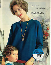 PUBLICITE ADVERTISING   1961   NOVLAN  sweaters JOLIE MADAME DE BALMAIN