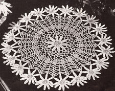 Vintage Crochet PATTERN to make Daisy Motif Flower Doily Mat Centerpiece Bright