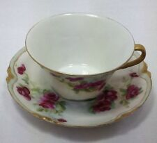 Antique Haviland Limoges Cup And Saucer ca 1893-early 1900s Roses Gilt Edging