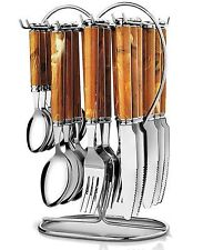 Pogo Galaxy Brown Stainless Steel Cutlery Set With Stand 25 Pcs