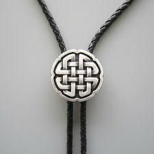 ORIGINAL ANTIQUE SILVER PLATED CELTIC CROSS KNOT CLASSIC COWBOY BOLOTIE NECKLACE
