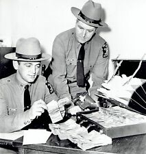 1964 Wire Photo New York State Troopers count stolen cash after arresting thief