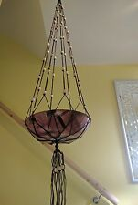 "macrame plant hanger, pot/ basket holder, brown, home decor, 55"" long."