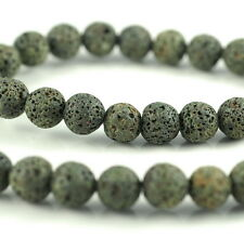 10MM GREY GREEN VOLCANIC BASALTIC LAVA GEMSTONE ROUND 10MM LOOSE BEADS 16""
