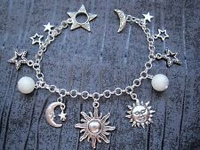 CELESTIAL SUN MOON STARS CHARM BRACELET SP Pearl Beaded GIFT BAG New Galaxy