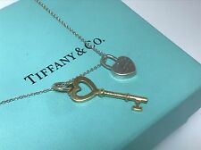 Tiffany&CO 18kt Yellow Gold And Sterling Silver Double Charm Pendant 16'' (E32)