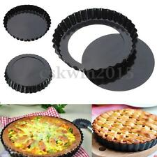 6'' Flan Tin Tart Pie Pan Fluted Cake Baking Tray Non Stick Loose Base Mold Kit