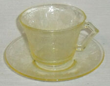 Hazel Atlas Cup And Saucer FLORENTINE Yellow Vtg 1935 Tea