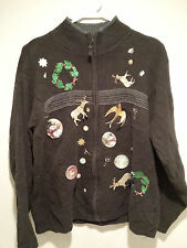 Vintage Tacky Ugly Christmas Sweater - Large Brown Homemade Party Winning Jumper