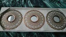 Conjunto De Tres Espejos marroquí de metal bronce flor 25cm Nuevo * venta últimos *