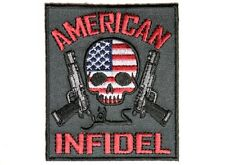 "(B10) AMERICAN INFIDEL with SKULL FLAG 3"" x 3.5"" iron on patch (4533) Biker Vest"