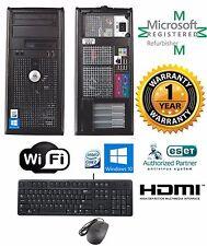 Dell Tower Win 10 64 Desktop Computer Intel Core 2 Quad 16GB RAM 1TB DVDRW HDMI