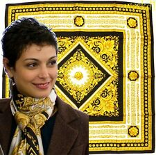 VERSACE yellow Baroque Florettes GREEK KEY Border silk Large scarf NWT Authentic