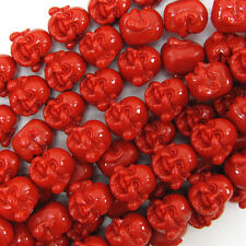 "16mm synthetic coral carved buddha beads 6"" strand red"
