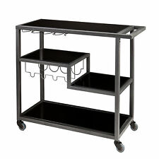 JWC01588 GRAY METAL BAR CART WITH GLASS TOP