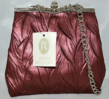 Jessiica McClintock Purple Berry Leaf Designed Evening Bag with Chain Strap NWT