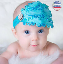 Baby Flower Feather Elastic Hairband Headband Toddler Girls US Stock (Blue)